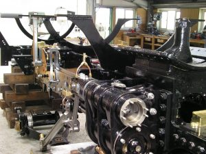 Steam locomotive undergoing overhaul