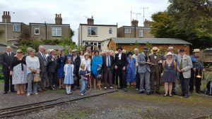 Heritage Group in period dress & guests at Hythe on the 90th birthday of the Railway in July 2017