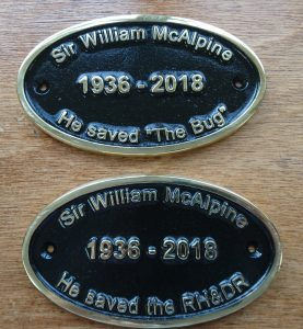 Sir William McAlpine commemorative plates fixed to The Bug