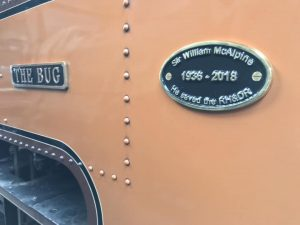 One of the commemorative plates fitted to The Bug