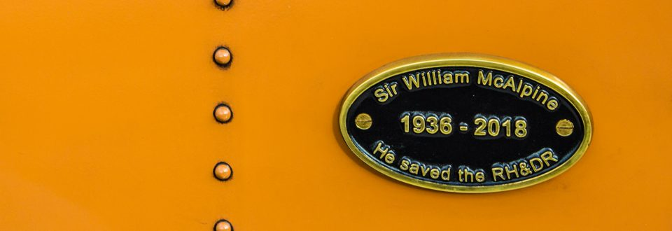 Sir William McAlpine memorial plate on The Bug